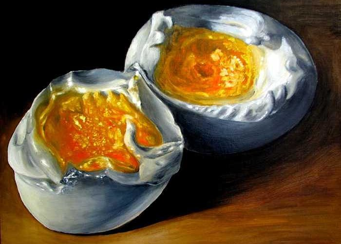 Eggs Greeting Card featuring the painting Eggs Contemporary Oil Painting On Canvas by Natalja Picugina