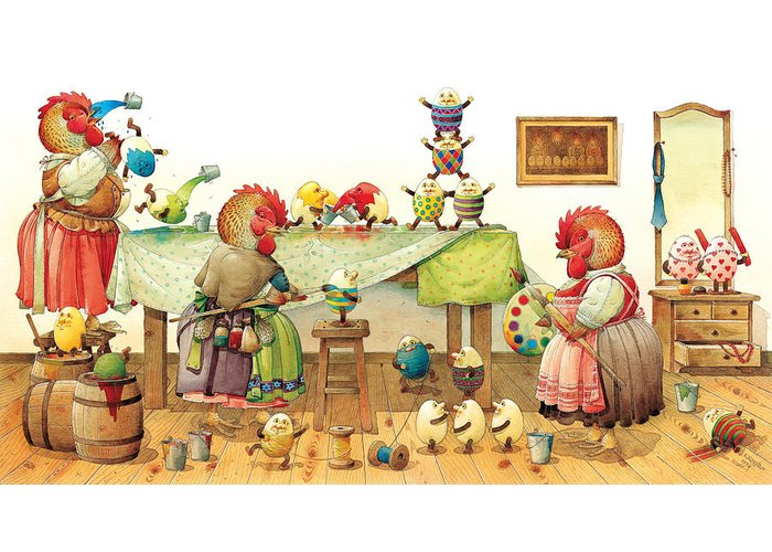 Eggs Easter Chicken Paintshop Painting Coloring Dyeing Paint Show Greeting Card featuring the painting Eggs Dyeing by Kestutis Kasparavicius