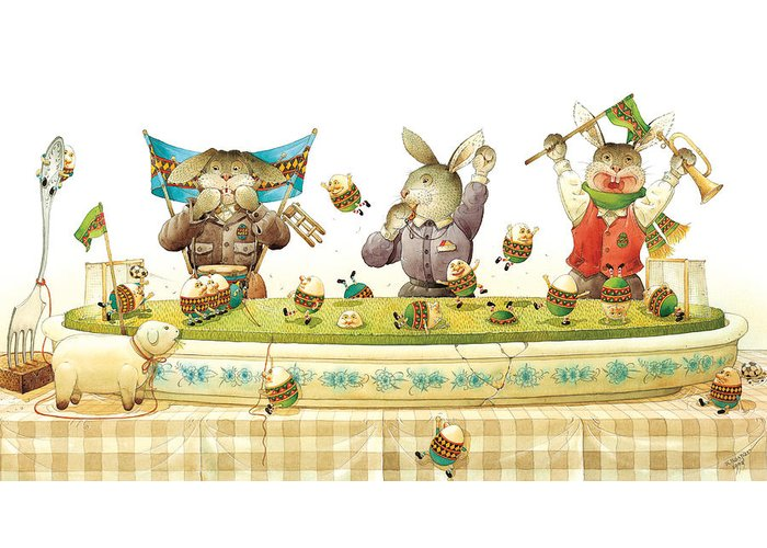 Eggs Easter Soccer Rabbit Greeting Card featuring the painting Eggs Soccer by Kestutis Kasparavicius