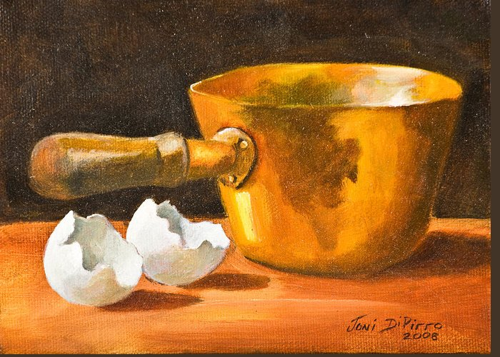 Pot Greeting Card featuring the painting Eggshell by Joni Dipirro