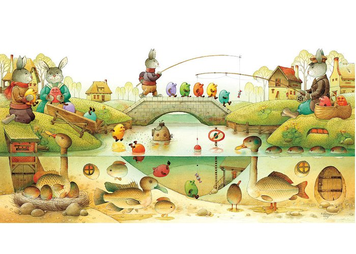 Eggs Easter Rabbit Greeting Card featuring the painting Eggstown by Kestutis Kasparavicius