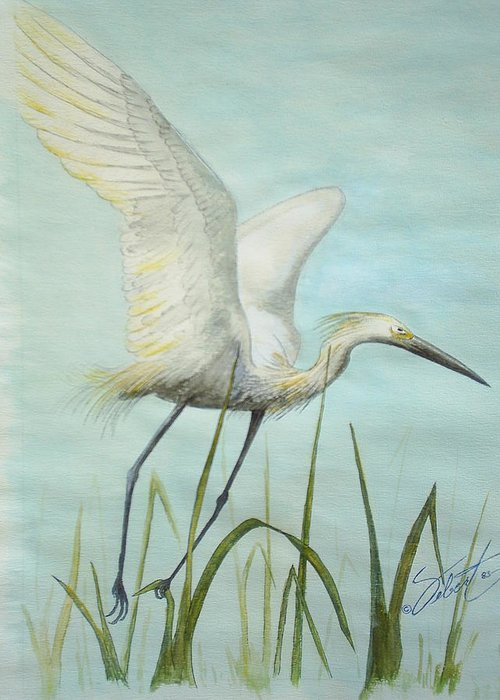 Bird Greeting Card featuring the painting Egret In Flight by Dennis Vebert