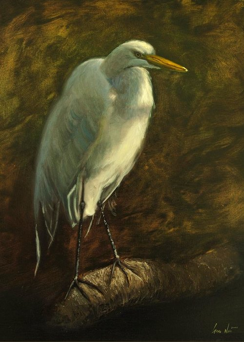 Oil Painting Greeting Card featuring the painting Egret on Branch by Greg Neal