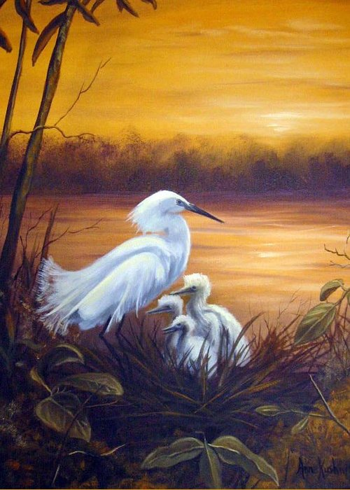 Birds Greeting Card featuring the painting Egret with Chicks by Anne Kushnick