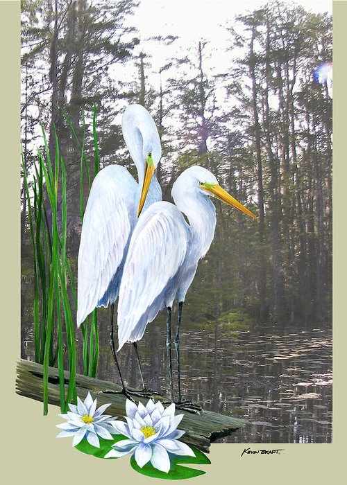 Egret Greeting Card featuring the painting Egrets And Cypress Pond by Kevin Brant