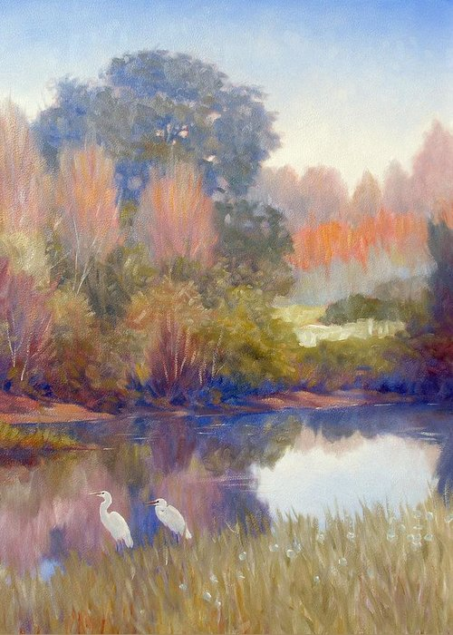 Egrets Greeting Card featuring the painting Egrets by Kevin Lawrence Leveque