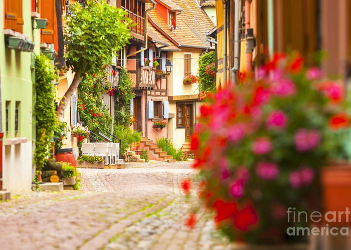 Alsace Greeting Card featuring the photograph Half-timbered House, Eguisheim, Alsace, France by Marco Arduino