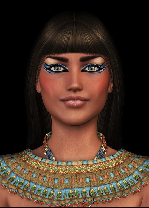 Woman Greeting Card featuring the digital art Egyian Princess Portrait by David Griffith