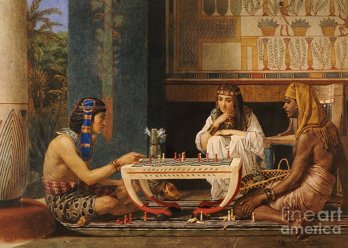 Egyptian Chess Players Greeting Card featuring the painting Egyptian Chess Players by Sir Lawrence Alma-Tadema