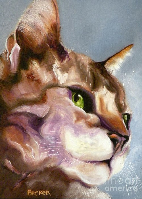 Cat Greeting Card featuring the painting Egyptian Mau Princess by Susan A Becker