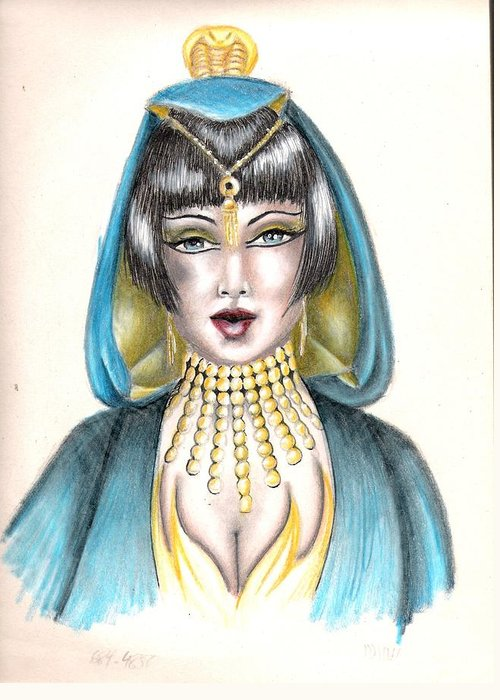 Colored Pencil Greeting Card featuring the drawing Egyptian Princess by Scarlett Royal