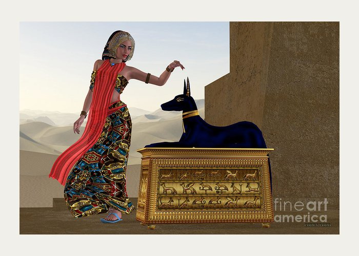 Anubis Greeting Card featuring the painting Egyptian Woman And Anubis Statue by Corey Ford