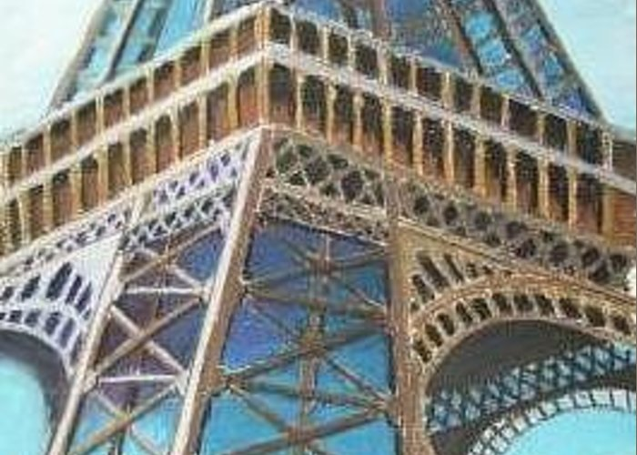 Architecture Greeting Card featuring the painting Eiffel by Joe Lanni