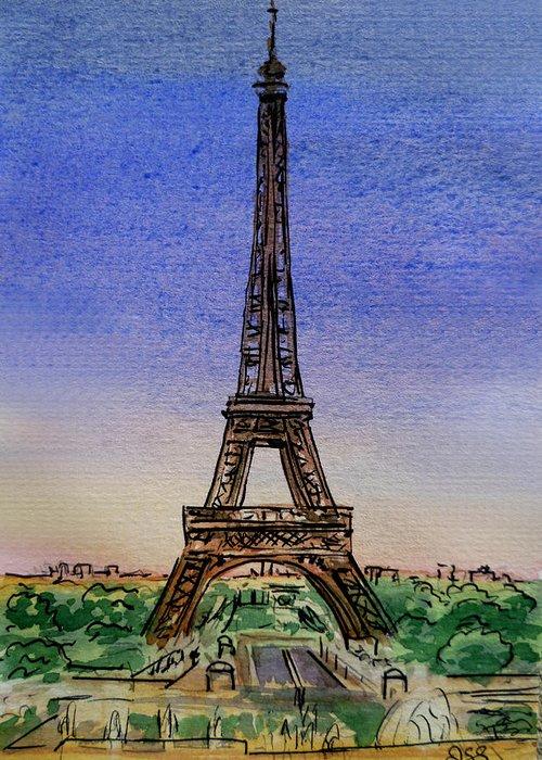 Paris Greeting Card featuring the painting Eiffel Tower Paris France by Irina Sztukowski