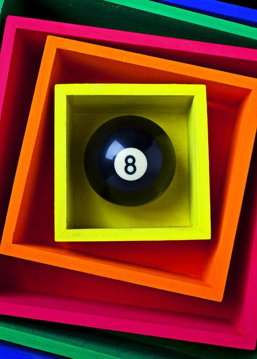 Pool Greeting Card featuring the photograph Eight Ball In Box by Garry Gay