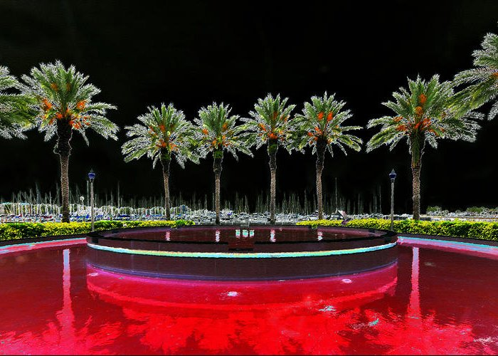 Art Greeting Card featuring the painting Eight Palms Drinking Wine by David Lee Thompson