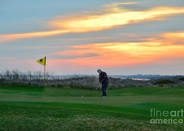 Golf Course Greeting Card featuring the photograph Eighteenth Green At Sunset by Catherine Sherman