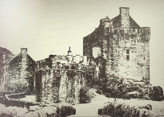 Eilean Donan Castle Greeting Card featuring the digital art Eilean Donan Castle by Nicci Frescamente