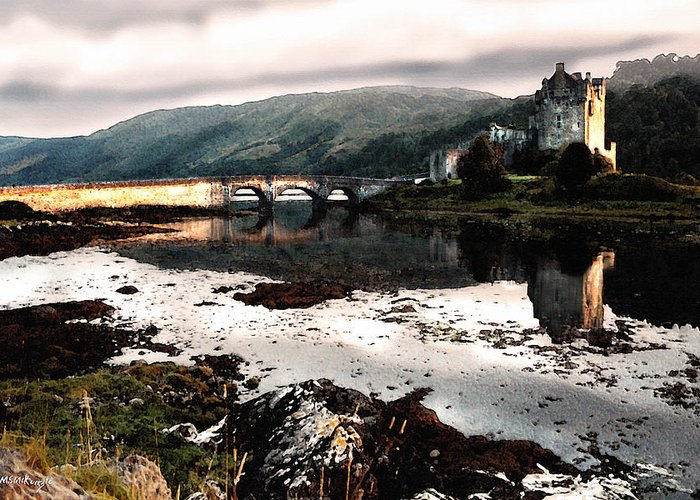 Scotland Greeting Card featuring the painting Eileen Donan II by M S McKenzie