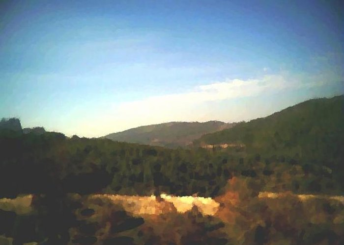 Sky.blue.little Clouds.foresty Hills.low Hills.forest.valley.trees.rest.silence.calm. Greeting Card featuring the digital art Ein-kerem Valley by Dr Loifer Vladimir