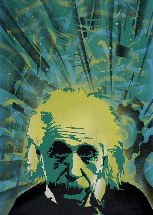 Pop Greeting Card featuring the painting Einstein by Tai Taeoalii