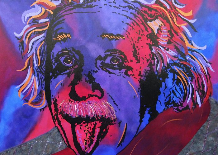 Einstein Paintings Greeting Card featuring the painting Einstein-professor by Bill Manson