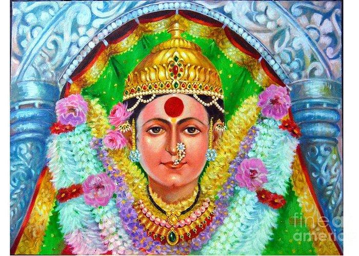 Indian Goddess Greeting Card featuring the painting Ekvira Devi by Kalpana Talpade Ranadive
