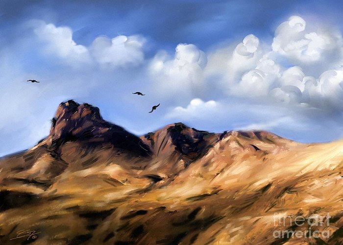 Blue Greeting Card featuring the painting El Capitan by - Artificium -