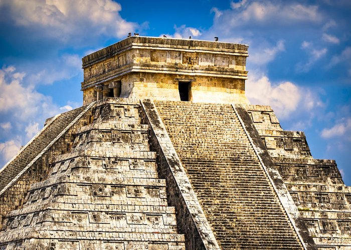 Chichen Itza Greeting Card featuring the photograph El Castillo - Pyramid At Chichen Itza by Mark E Tisdale