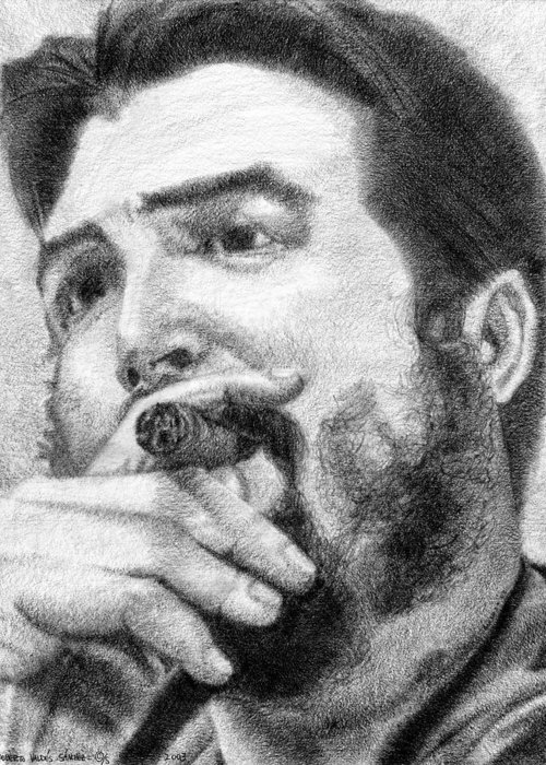 Che Greeting Card featuring the drawing El Che by Roberto Valdes Sanchez