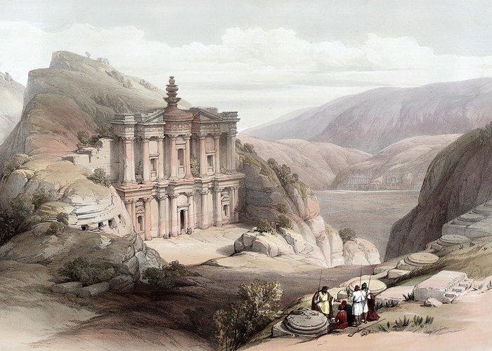 Petra Greeting Card featuring the photograph El Deir Petra 1839 by Munir Alawi