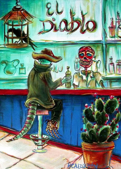 Day Of The Dead Greeting Card featuring the painting El Diablo by Heather Calderon