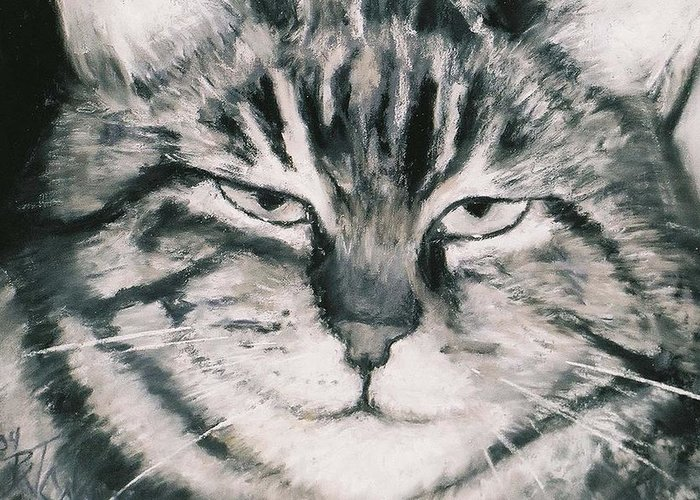 Close Up Of Tabby Cat Greeting Card featuring the painting El Gato by Billie Colson
