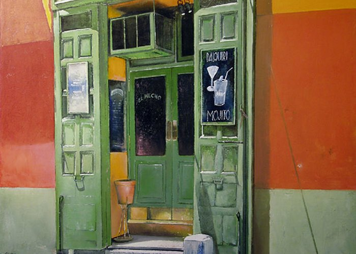 Hecho Greeting Card featuring the painting El Hecho Pub by Tomas Castano