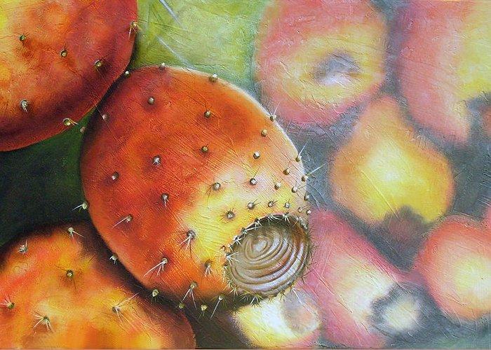 Tunas Greeting Card featuring the painting El Mercado by Maribel Garzon