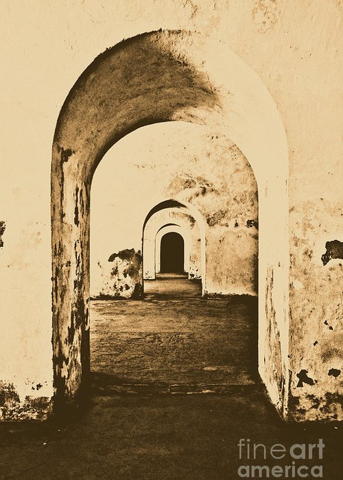 Travelpixpro Puerto Rico Greeting Card featuring the photograph El Morro Fort Barracks Arched Doorways Vertical San Juan Puerto Rico Prints Rustic by Shawn O'Brien