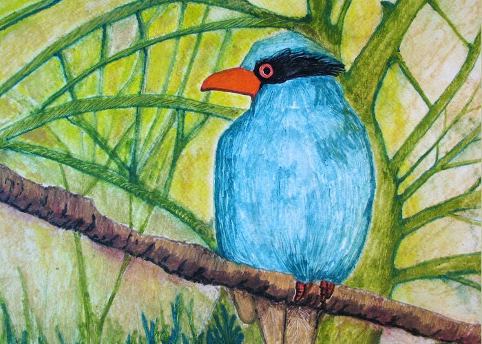 Nature Greeting Card featuring the painting El Pajaro Del Agua Azul by Patricia Arroyo
