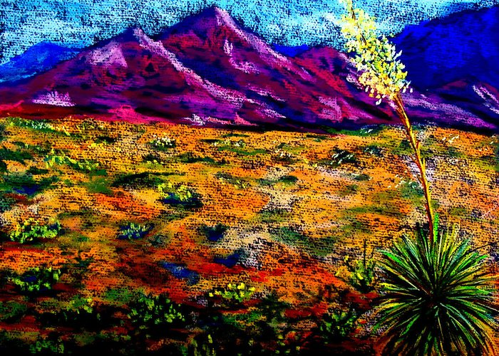 Yucca Greeting Card featuring the painting El Paso by Melinda Etzold