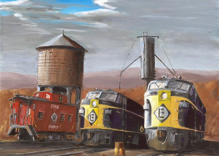 Caboose Paintings Greeting Cards