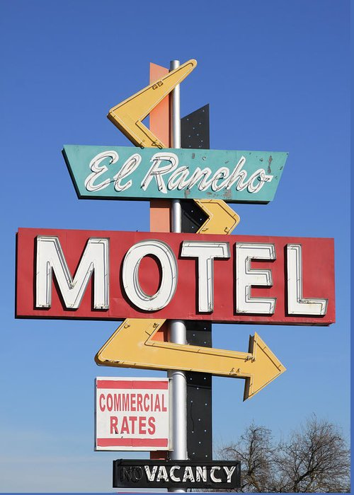 Antique Greeting Card featuring the photograph El Rancho Motel Stockton Ca by Troy Montemayor