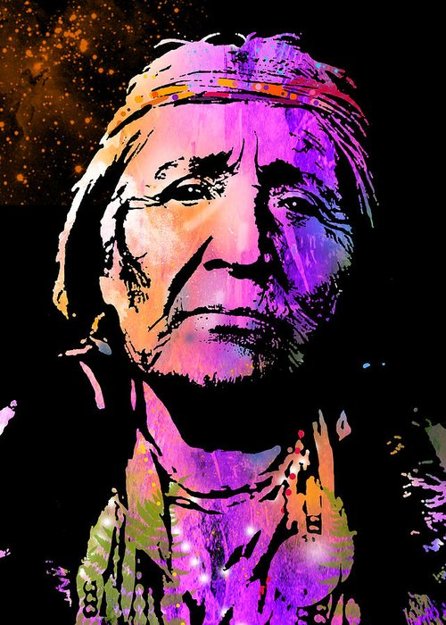 Native Americans Greeting Card featuring the painting Elderly Hupa Woman by Paul Sachtleben