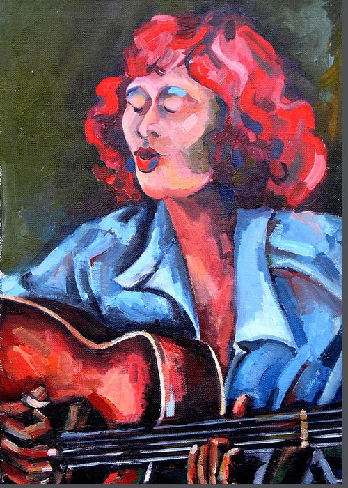 Blues Musician Greeting Card featuring the painting Eleanor Ellis - Diving Duck Blues by Jackie Merritt