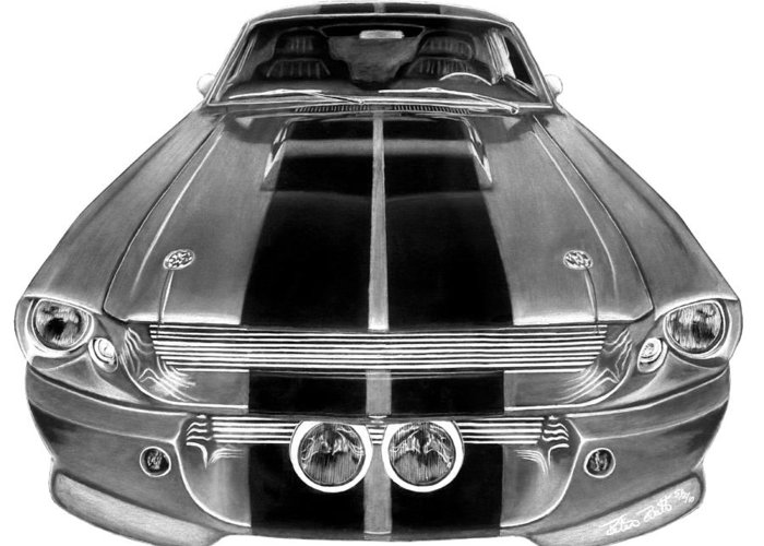 Eleanor Inverted Greeting Card featuring the drawing Eleanor Ford Mustang by Peter Piatt