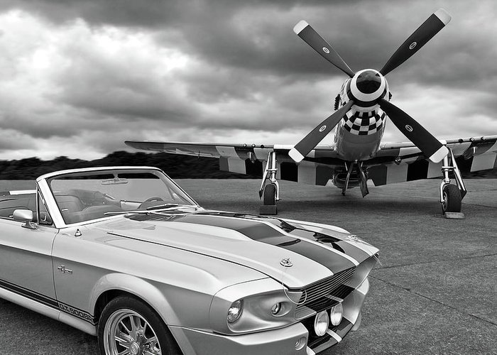Old Ford Mustang Greeting Card featuring the photograph Eleanor Mustang With P51 Black And White by Gill Billington