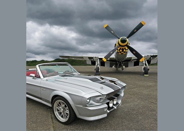 Ford Mustang Greeting Card featuring the photograph Eleanor Mustang With P51 by Gill Billington