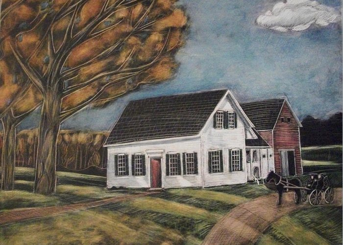 Maine Farmhouse Drawings Greeting Cards