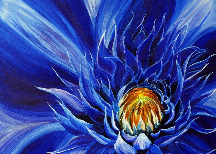 Macro Flower Greeting Card featuring the painting Electric Blue by Julie Pflanzer