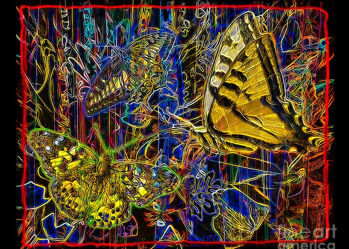 Butterfly Greeting Card featuring the digital art Electric Butterflies by Chuck Brittenham