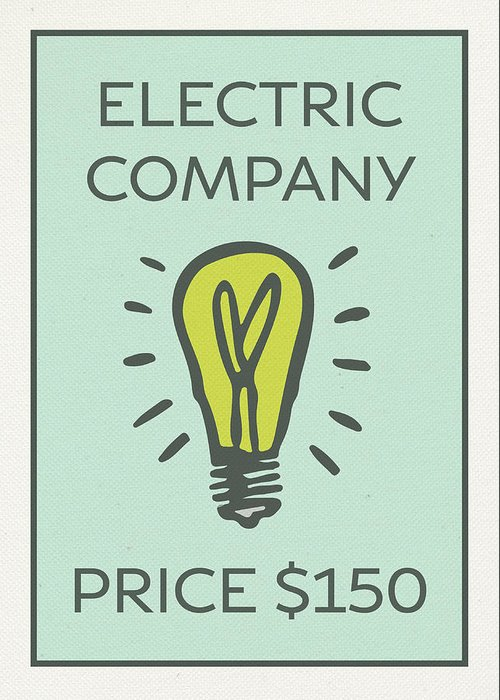 Electric company vintage monopoly board game theme card greeting electric company greeting card featuring the mixed media electric company vintage monopoly board game theme card m4hsunfo