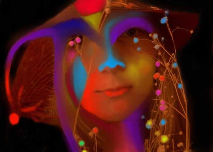 Face Greeting Card featuring the digital art Electric Compassion by Peter Shor